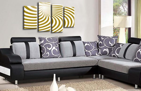 Abstract Wall Art Gold White Swirls Canvas Picture Print